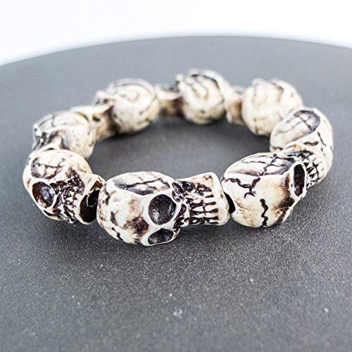 (BSNOVT 1 Piece Skull Carving Men's Bracelet limitation Yak Bone Material Bone Art Vintage Bracelets for Man #GZ403)