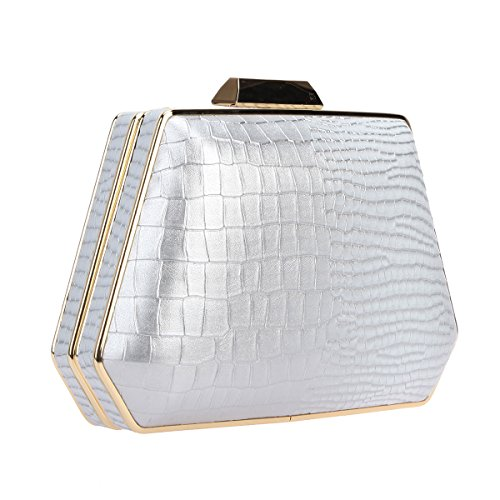 for Bags Gray Bonjanvye Women Pattern Purse Snake Box Evening Handbag Clutch wqqgU7t