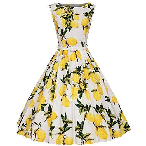 Moollyfox Mujer Retro 1950s Pin-up Limón Estampado Rockabilly Oscilación Cóctel Vestido con la Correa Blanco Limón