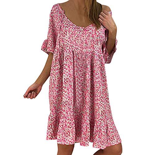 (Sunhusing Women's Round Neck Floral Printed Ruffled Sleeve Lace Trim Dress Summer Loose Chiffon Sundress Pink)