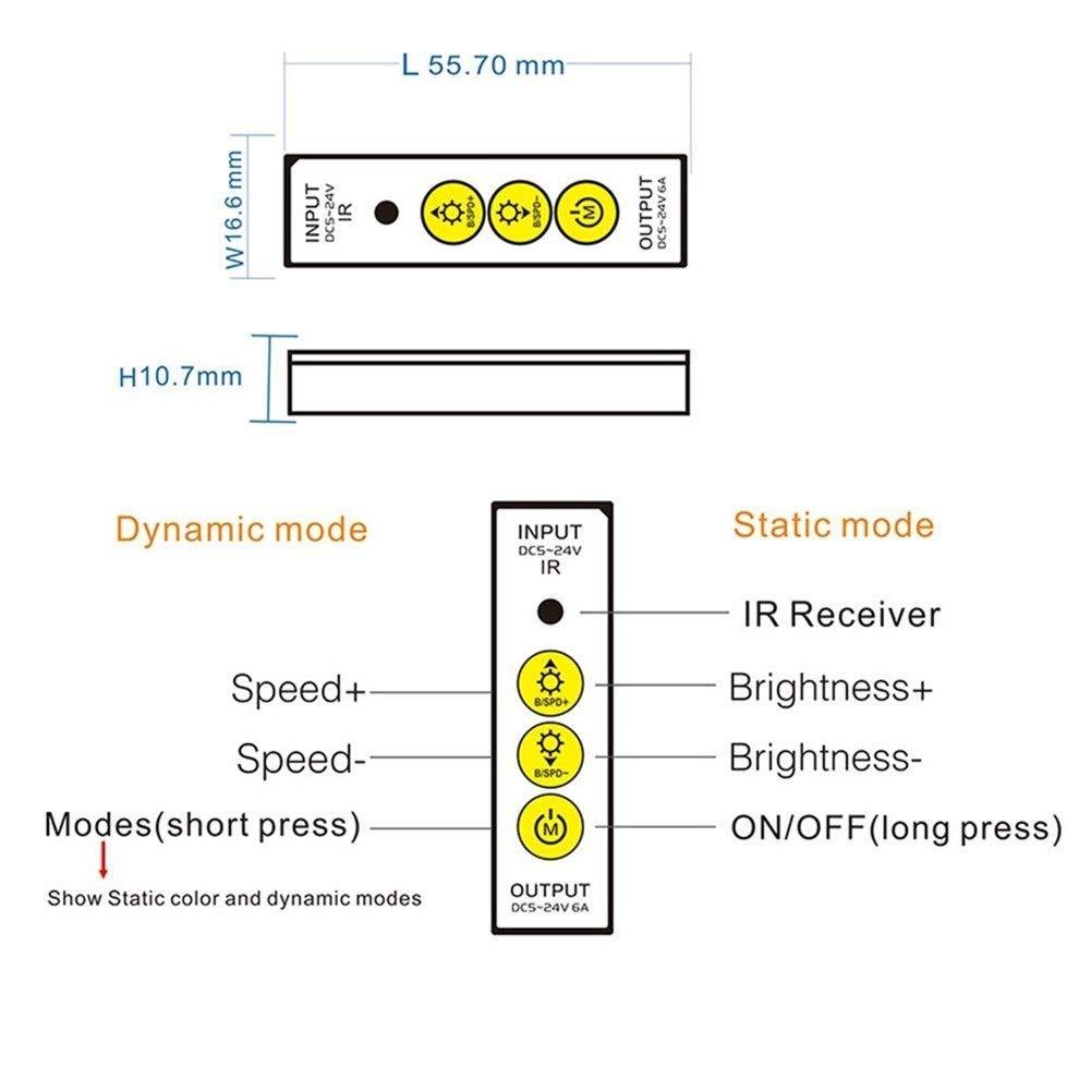 14Keys T/él/écommande for Unique lumi/ère Bande de Couleur Transformateurs de Puissance QXY ZYQ DC5V 24V Mini 3Keys Bouton Contr/ôleur LED Dimmer IR