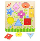You Xi Wooden Shapes Learning Puzzle Board Shape Sorter Toy for Kids Toddlers