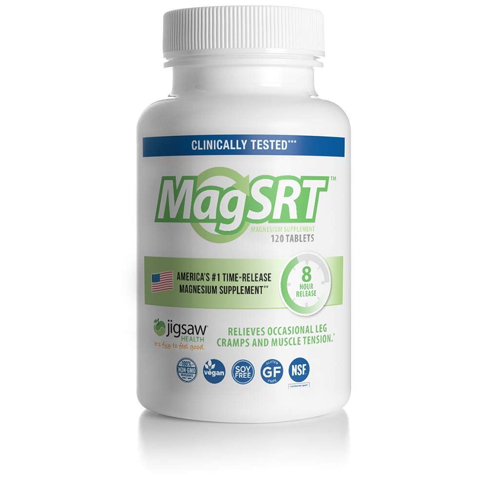 MagSRT Magnesium Malate Supplement (Jigsaw Magnesium w/SRT) - Premium, Organic, Slow Release Magnesium Tablets - Easy to Swallow - 120 ct