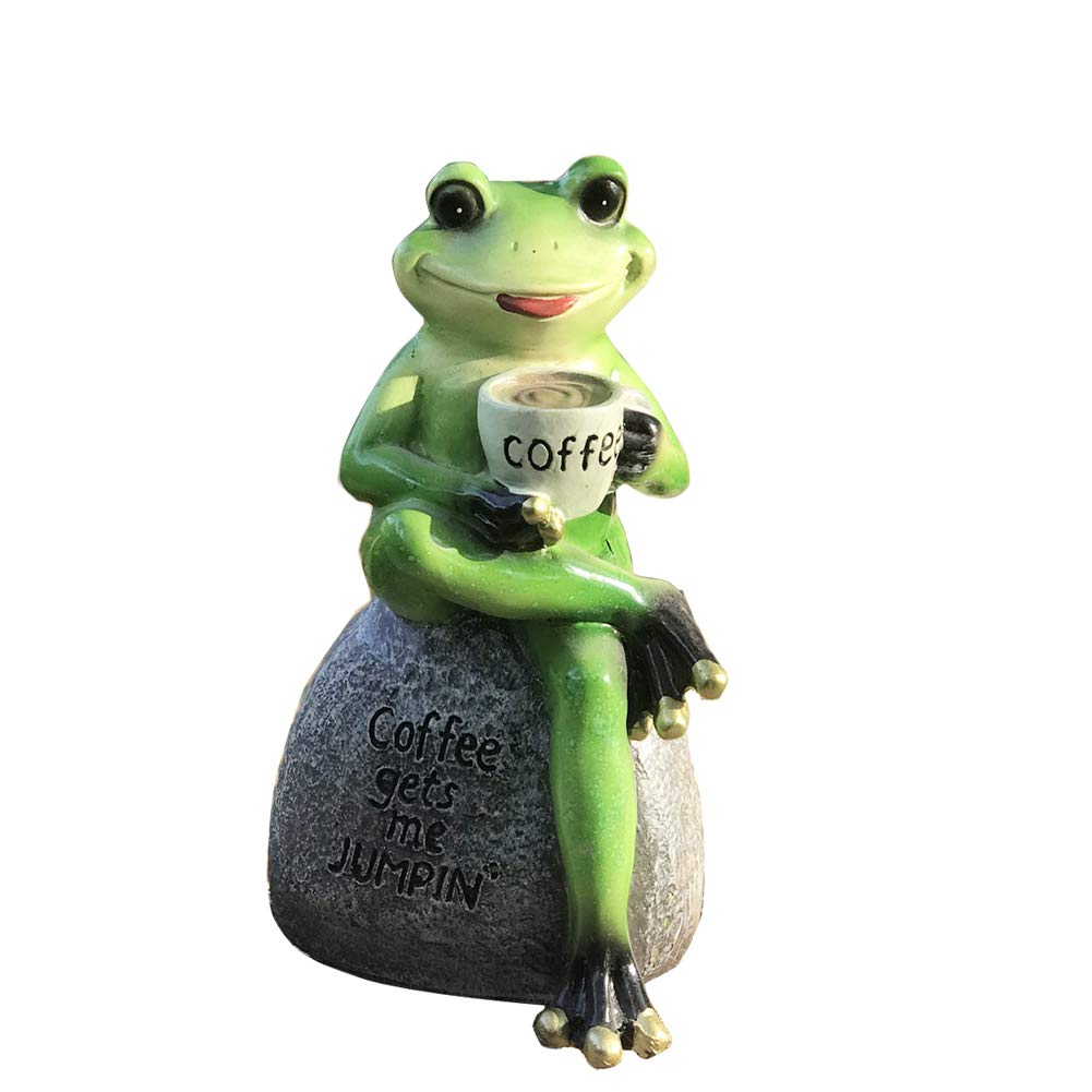 Creative Green Frog Sitting on Stone Statue Drinking Coffee Indoor Outdoor Garden Statue Decoration Collectible Frog Figurine Statue Model Sculpture
