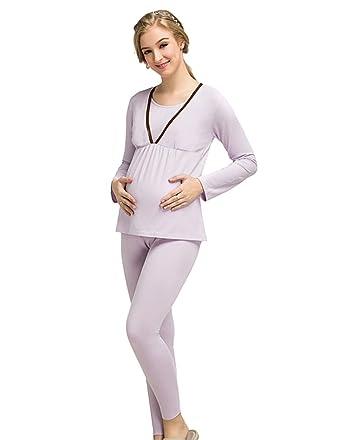 75230db215ec7 LINNUO Maternity Nightwear Set Nursing Pyjamas Breastfeeding Long Sleeve  Tops and Adjustable Pants (Light Purple, CN XL): Amazon.co.uk: Clothing