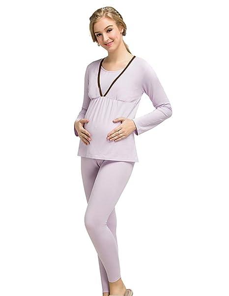 LINNUO Ropa para Dormir Set Premamá Lactancia Camison Manga Larga Maternidad Pijama y Pantalones Embarazadas (