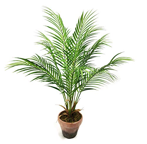 Wangyang Fake Plants Faux Plants Decor Indoor Outdoor Artificial Palm Tree In Unbreakable Planter For Home 28 Inches Tall 1 Pack Beachfront Decor