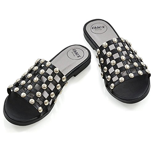 ESSEX GLAM Womens Slide Sandals Ladies Flat Studded Cage Foot Strap Holiday Slip On Shoes Black Synthetic Leather 972xblPpu2