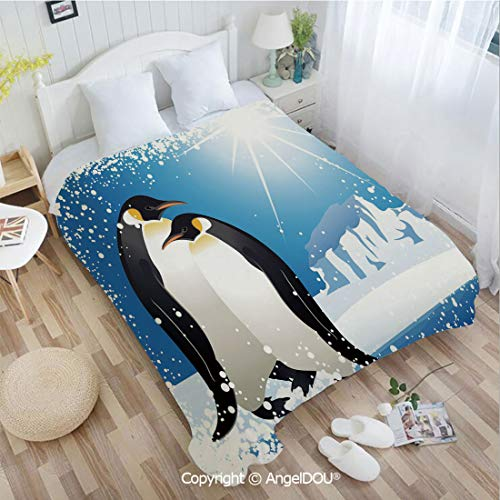 AngelDOU Warm air Conditioner Flannel Blanket W72 xL86 Cute Penguins on Iceland at Arctic Snowy Frozen Climate Kids Illustration for Bed Cover Sofa car use.