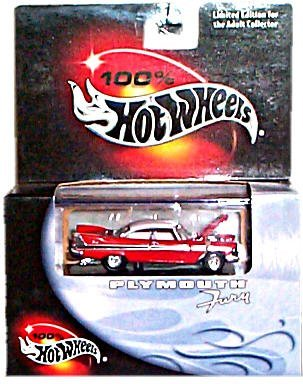 - Hot Wheels 100% Limited Edition Cool Collectibles Series - Plymouth Fury (1957)(Red w/White Top) - Mounted in Display Case