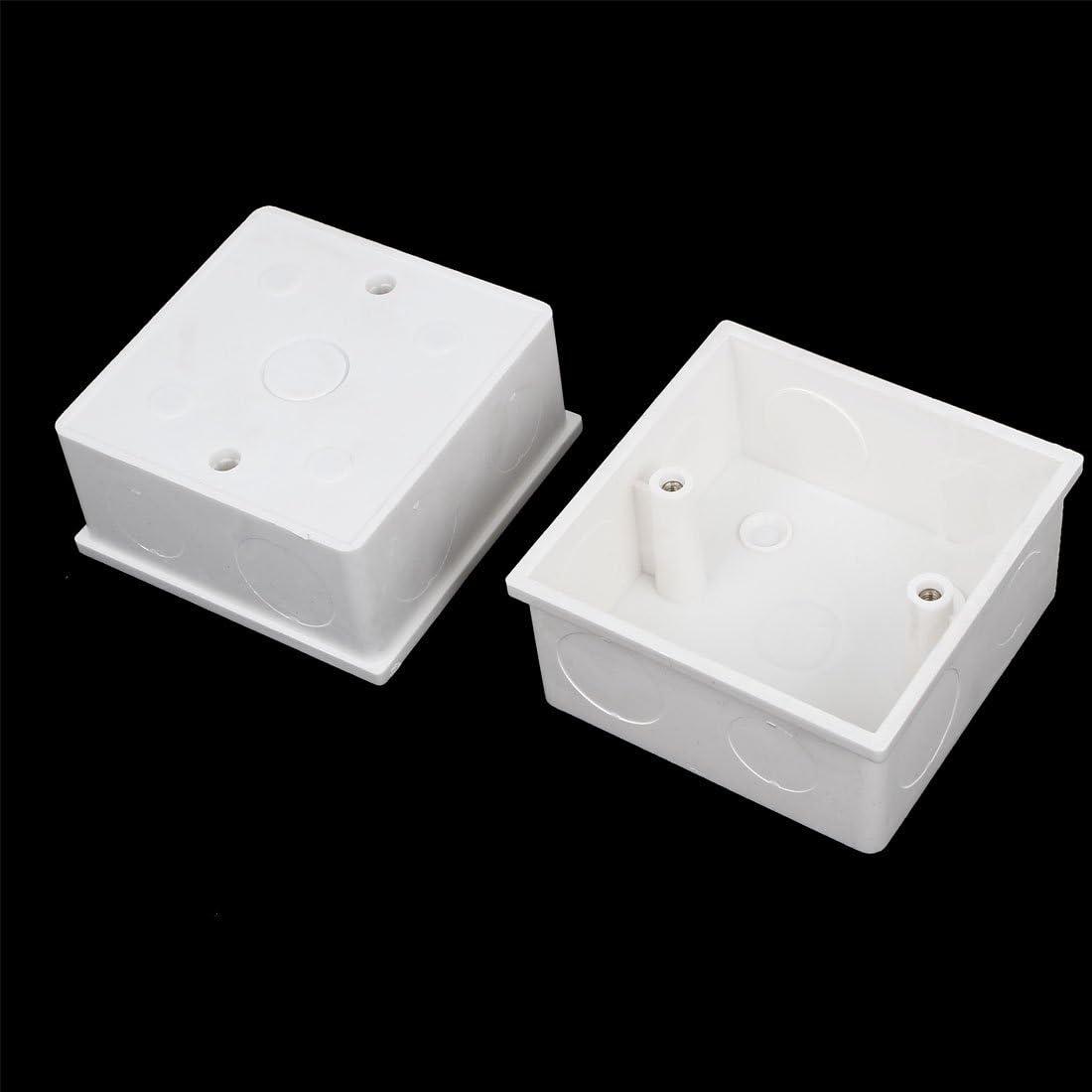 4 Piezas 86mmx86mmx43mm PVC blanco Soporte Caja Empotrar para ...