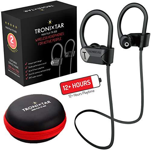 (TRONIXTAR Wireless Sports Earphones - Running Bluetooth Headphones with 12 Hours Battery & Memory-Hooks, MAXX Play TR-908 Flexible Ear Hooks, IPX7 Waterproof, Sweatproof Earbuds & 2 Year Warranty)