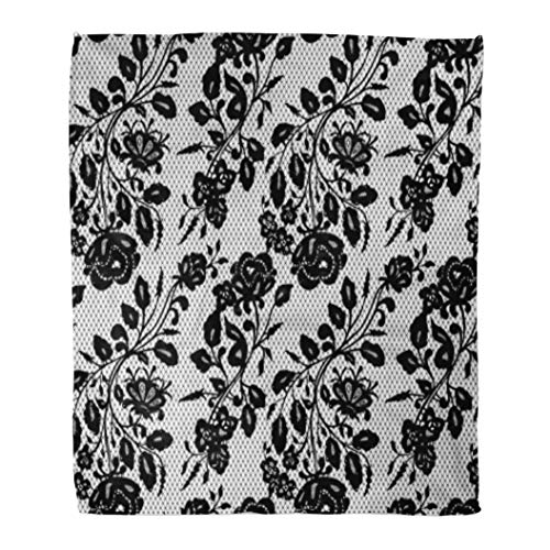 Golee Throw Blanket Abstract Black Lace Pattern Antique Classic Doily Dress Elegance Floral 50x60 Inches Warm Fuzzy Soft Blanket for Bed Sofa