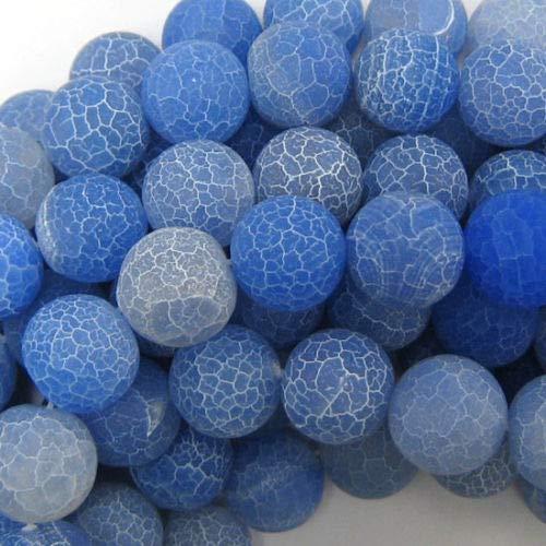 (Design Making 14mm Matte Blue fire Agate Round Beads 15