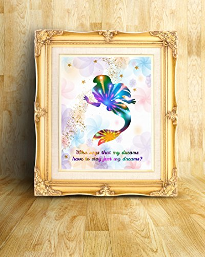 Uhomate Princess Ariel The Little Mermaid Home Canvas Prints Wall Art  Anniversary Gifts Baby Gift Inspirational Quotes Wall Decor Living Room  Bedroom ...
