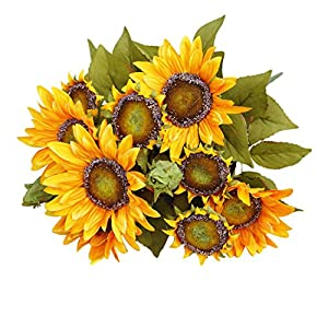 Artificial Sunflower Silk Flowers Fake Leaf Wedding Home Party Decoration Yellow 83