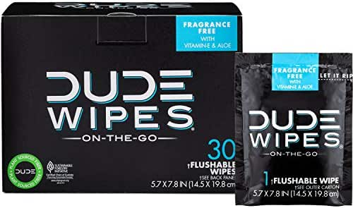 DUDE Wipes Flushable Wet Wipes 30 Wipes, Individually Wrapped for Travel, Unscented Wet Wipes with Vitamin-E & Aloe, Septic and Sewer Safe