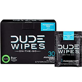 DUDE Wipes Flushable Wet Wipes 30 Wipes, Individually Wrapped for Travel, Unscented Wet Wipes with Vitamin-E & Aloe, Septic and Sewer Safe (B008LXBZF2) | Amazon price tracker / tracking, Amazon price history charts, Amazon price watches, Amazon price drop alerts