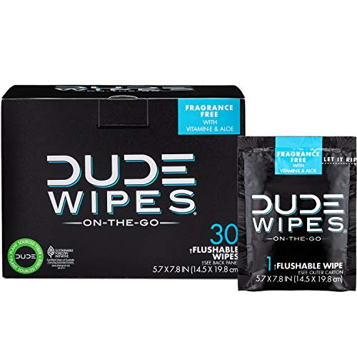 DUDE Wipes Flushable Wet Wipes 30 Wipes, Individually Wrapped for Travel, Unscented Wet Wipes with Vitamin-E & Aloe, Septic and Sewer Safe ()