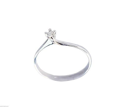 Anillo de compromiso para mujer de oro blanco de 18 quilates. 750 con diamante 0