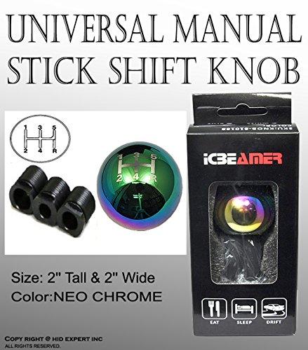 ICBEAMER NEW Drift Shape Bar Neo Chrome Ball Manual Stick Shift Drive Vehicle Shift Knob [Pack of 1 (2' Gear Shift Knob)