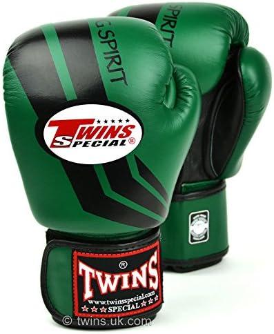 Twins especial Dark Green-Black Stripe Guantes de boxeo Entrenamiento Sparring FBGV-43