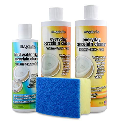 Megabrite Toilet Cleaning Kit- Pumice Stone Liquid Gel Toilet Bowl Cleaner and Hard Water Stain Remover - Natural Non Toxic Bathroom Cleaners with Essential Oil - Toilet Scrubber Supplies Made in USA