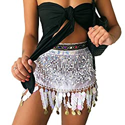 Belly Dance Hip Scarf In White With Hanging Sequins