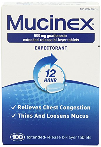 Mucinex 12 Hour 600mg Guaifenesin Extended-Release Bi-Layer Tablets, 100 count