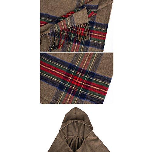 Echarpe Hiver Chale Femme Automne GWELL Gris Capuche Frange Carreaux Ponchos Large Capes Manteau Tricot CaqBa4wXZ