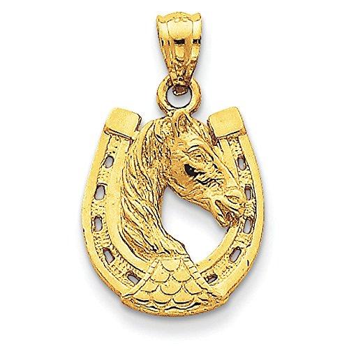 Poli Massif 14 Carats Tête de cheval dans fer à cheval-Dimensions :  26 x 15 mm JewelryWeb -