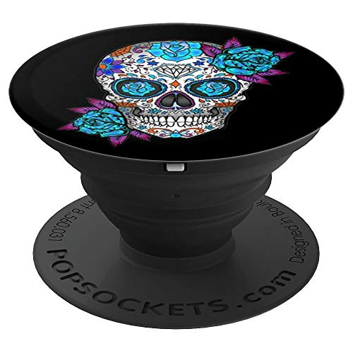 Sugar Skull, Blue Rose, Sugarskull, Purple, For Girls - PopSockets Grip and Stand for Phones and Tablets ()
