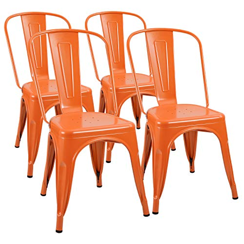 Furmax Metal Chairs Indoor/Outdoor Use Stackable Chic Dining Bistro Cafe Side Chairs Set of 4 (Orange)