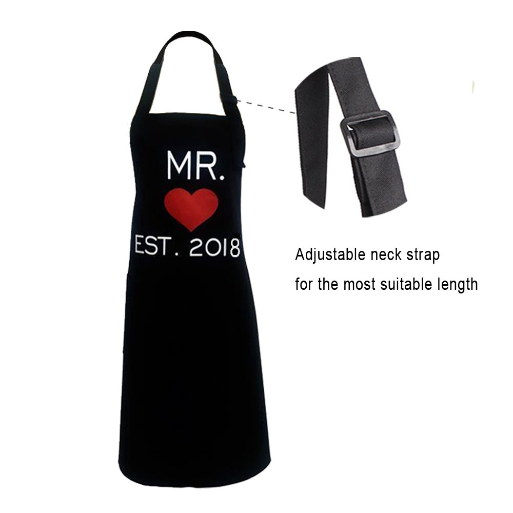 KMCH Mr. and Mrs.2018 Couples Kitchen Aprons Funny Cooking Bibs Gifts For Wedding Newlyweds His and Hers Sets (2 Pieces a Set) by KMCH (Image #5)