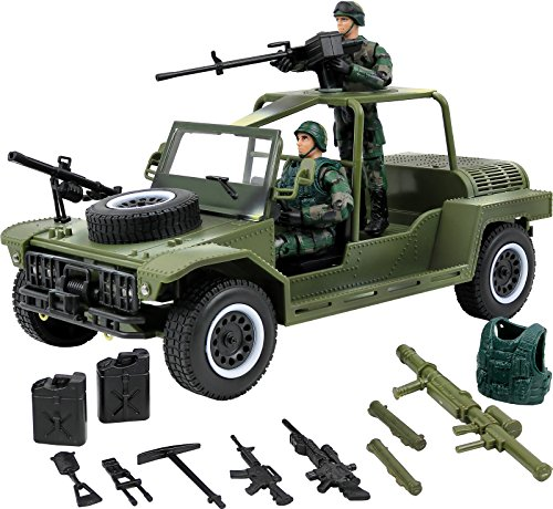 Click N' Play Military Fast Attack Assault Vehicle 17 Piece Play Set with Accessories. (Fast Attack Vehicle)