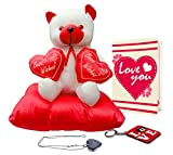 TiedRibbons® Valentine Gifts For Girlfriend (Couple Teddy On Heart Pillow, Earrings and Greeting Card)
