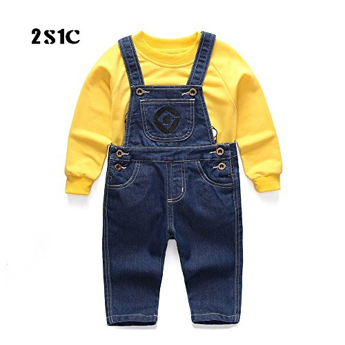Baby & Little Boys/Girls Minion Cosplay Denim Overalls Suit Sweater Long Sleeve Minion Romper Set Minion Costume Set Denim Bib Overall (90CM) - Cute Minion Costumes
