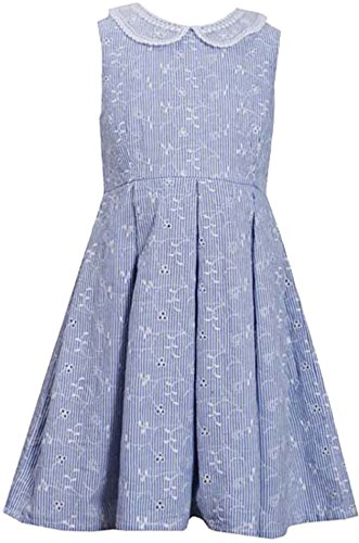 irls Striped Embroidered Eyelet Fit Flare Collar Dress, Blue, 6X ()