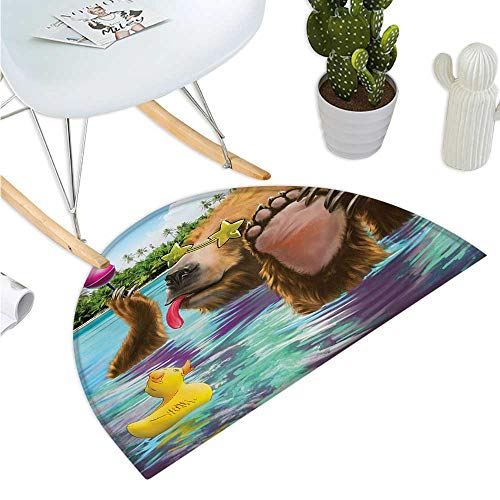 - Animal Semicircular Cushion Happy Fancy Wild Bear in The Sea by The Beach with its Sunglasses Candies Print Bathroom Mat H 39.3