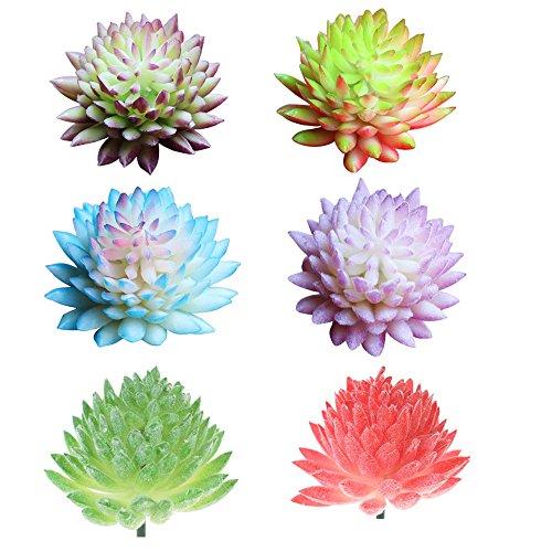 6pcs Artificial Colorful Echeveria Chihuahuaensis, Plastic Simulation Succulents Cactus Plants for Office Home Garden Miniature Decoration, 1.6