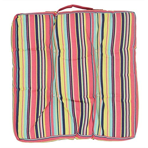 Storeindya Square Chair Pad Indoor Cushion Car Seat Pillow Stool Cushion Striped Cotton Cover Polyester Filling 15 x 15 Inches for Women Men Kids