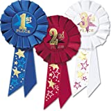 Beistle RAP04 3-Pack 1st, 2nd, 3rd, Place Award Rosettes Party Decor, 3-1/4-Inch by 6-1/2-Inch