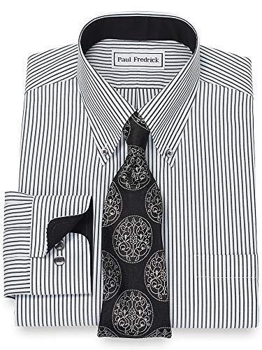 Paul Fredrick Men's Bengal Stripe Non-Iron Cotton Button Cuff Dress Shirt Black/White 17.0/35
