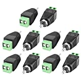 Haiker 10 pcs UTP Coax Cat5 Cat6 AV Screw Terminal Plug to RCA Male CCTV Camera Audio Balun Plug Connectors