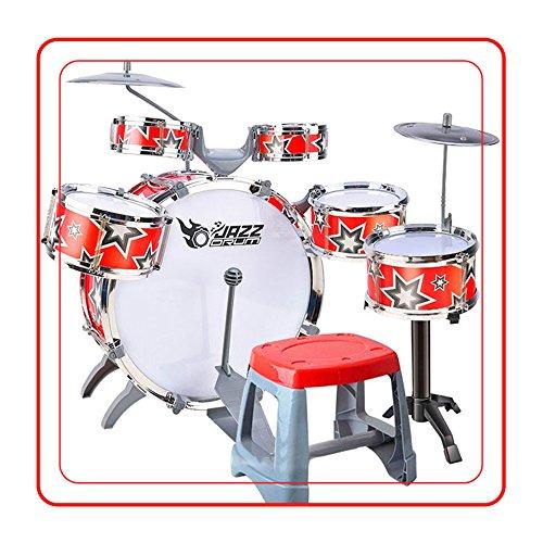 livebest-kids-musical-instrument-drum-play-set-w-5-drums-chair-red-star