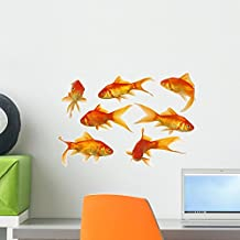 Gold Fish Wall Decal Sticker Set by Wallmonkeys Individual Peel and Stick Graphics on a (18 in W x 12 in H) Sticker Sheet WM29017