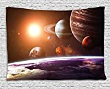 Modern Decor Tapestry, Solar System with Planets Outer Space Objects Sun Dark Matter Background, Wall Hanging for Bedroom Living Room Dorm, 60WX40L Inches, Orange Purple
