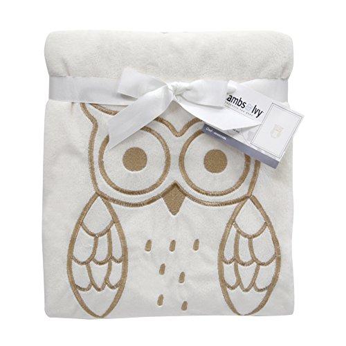Lambs & Ivy Embroidered Metallic Owl Minky Blanket, White/Gold (Minky Blanket Baby Cream)
