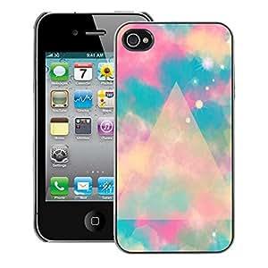 Supergiant (Blue Polygon Mystical Space Clouds) Impreso colorido protector duro espalda Funda piel de Shell para iPhone 4 / 4S