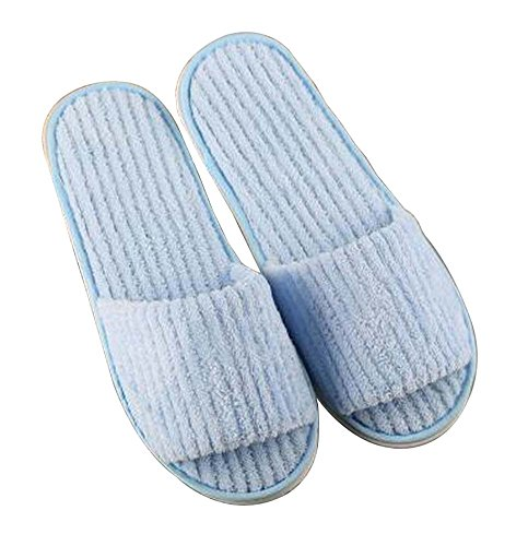 Disposable Pairs Coral Slippers Open Toe Velvet 10 Blue Slippers Soft xXqOwB5